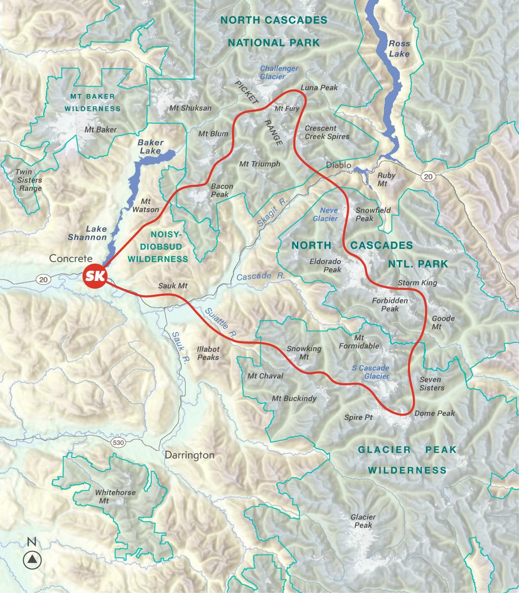 North Cascades Explorer Scenic Flight Map